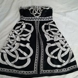 White House Black Market Silk Strapless Dress Sz 4